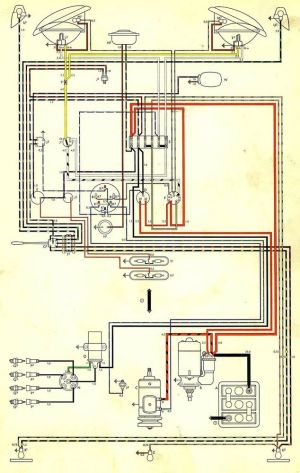 Volkswagen Wiring Diagram BUS AND TRANSPORTER 1970 VW