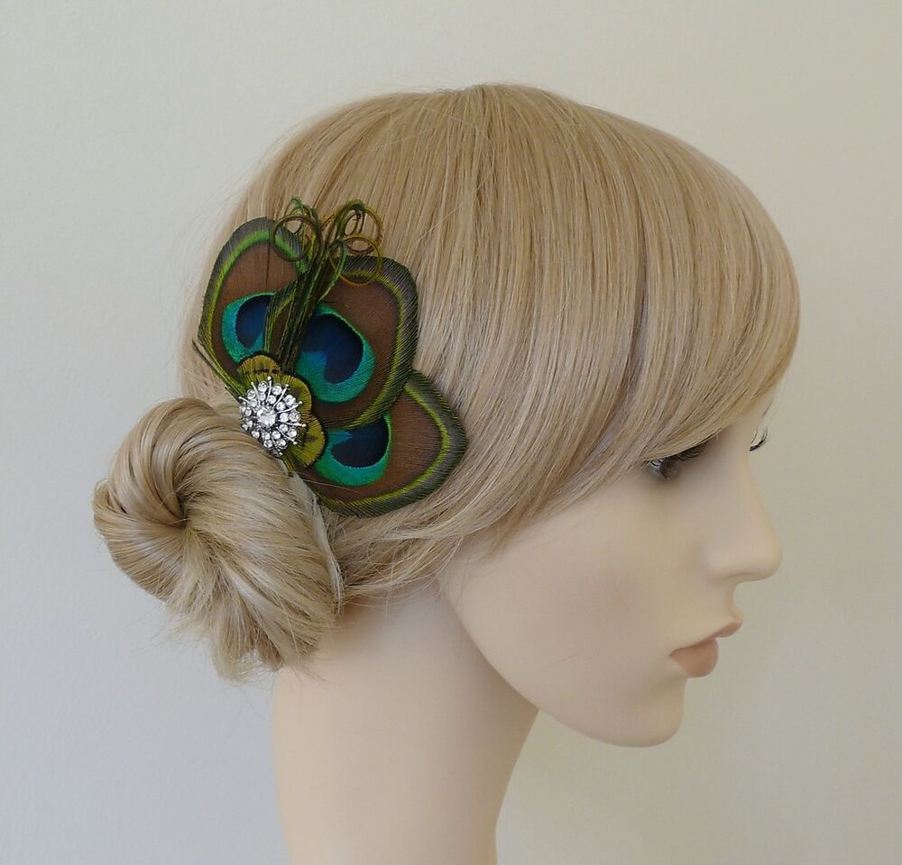 Paige PEACOCK Feather Fascinator HAIR CLIP Bridesmaids