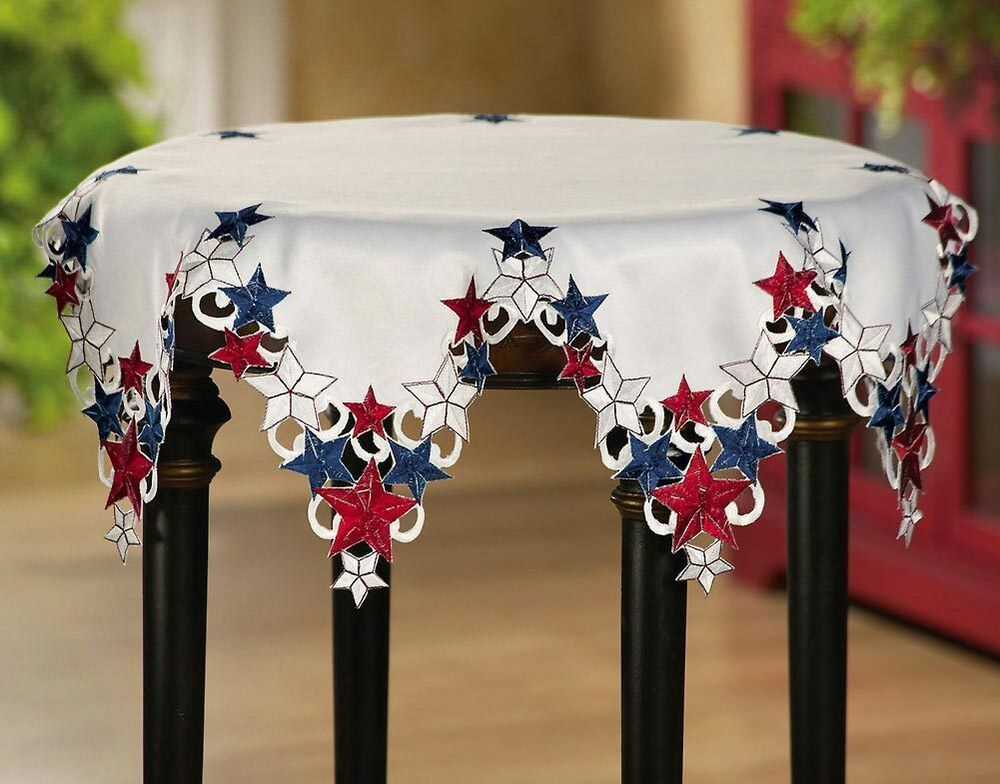 Americana Stars Patriotic Red White And Blue Round Table