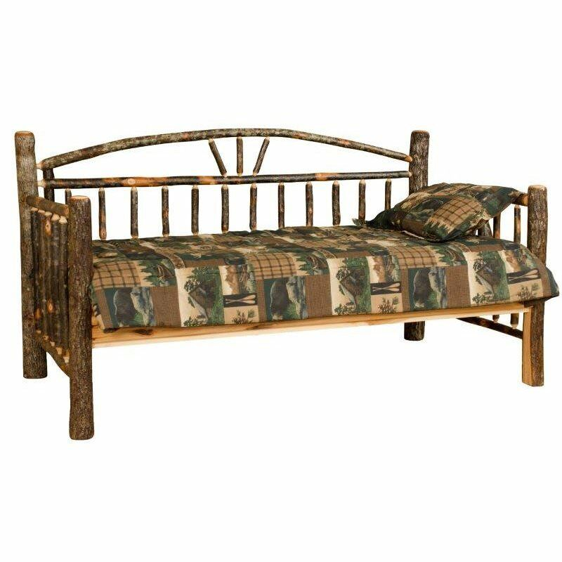 Twin Size Rustic Hickory Daybed Wagon Wheel Design