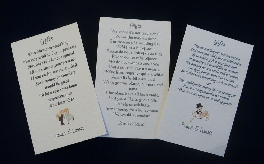 50 Wedding Gift Poem Cards Asking For Money Cash Cheques