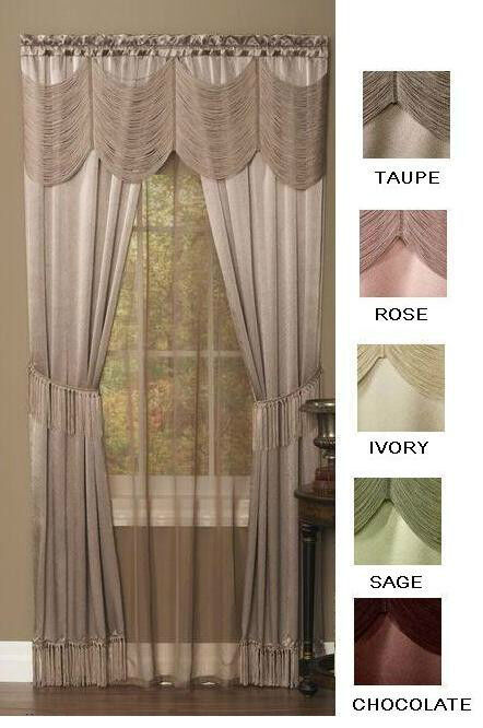 HALLEY CURTAINS SHEER AND AUSTRIAN VALANCE COMPLETE WINDOW SET EBay