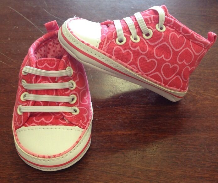 Carters Newborn Baby Girl Red Heart Crib Shoes Sneakers