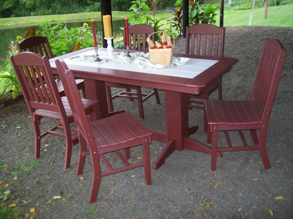 "wood patio furniture table and chairs Poly Lumber Wood Patio Set- 60"" Rectangle Table and 4"