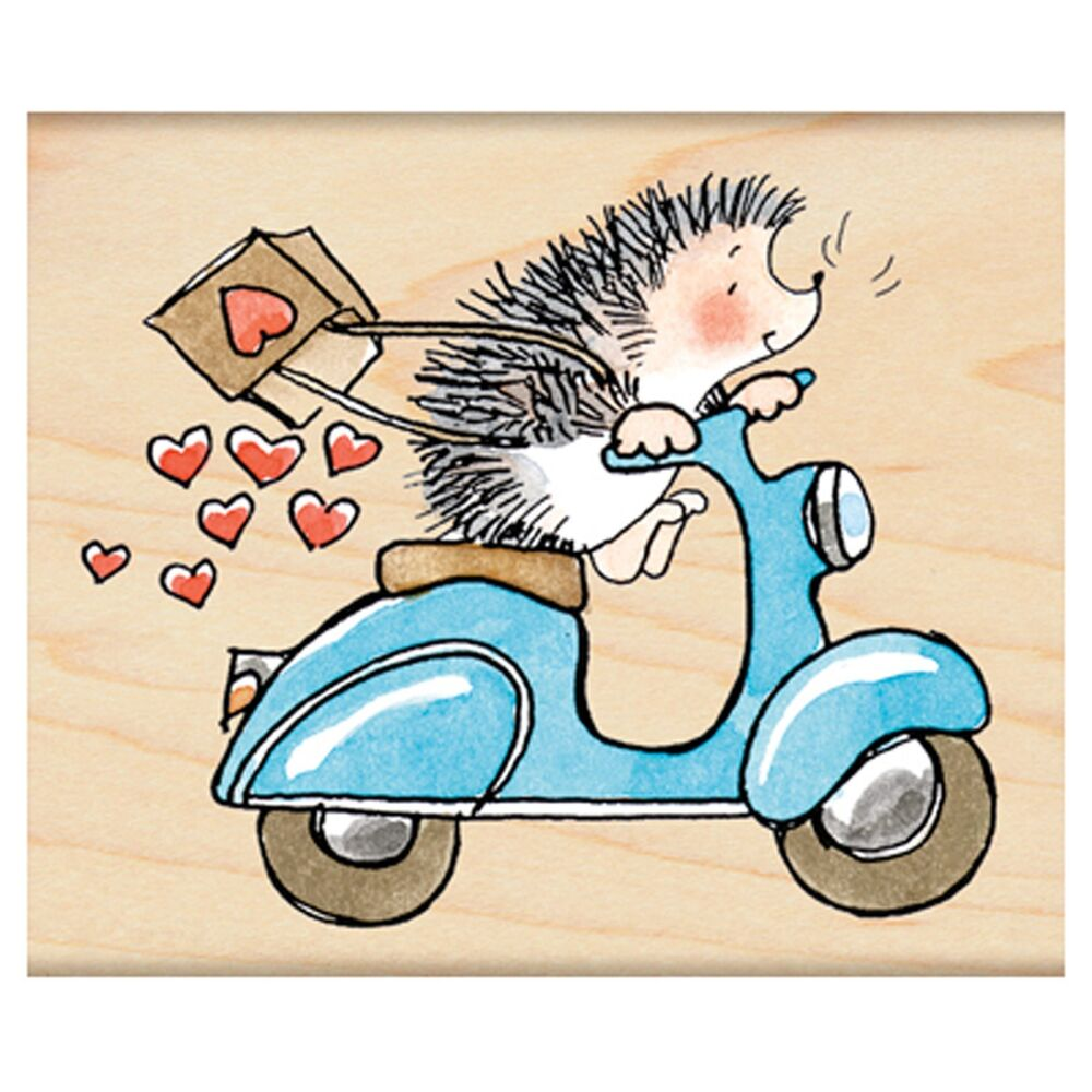Sweet Ride Valentine Hedgehog Wood Mounted Rubber Stamp