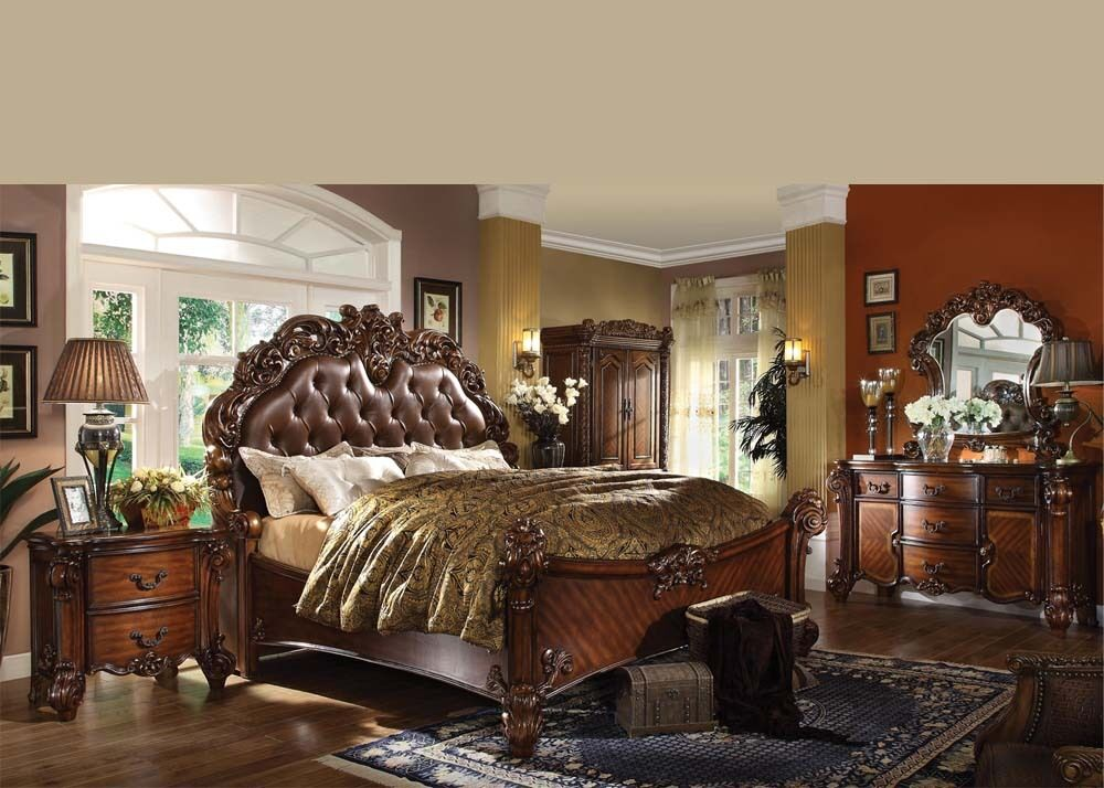 Antique Traditional Forml Luxury Queen King Size Bed Set