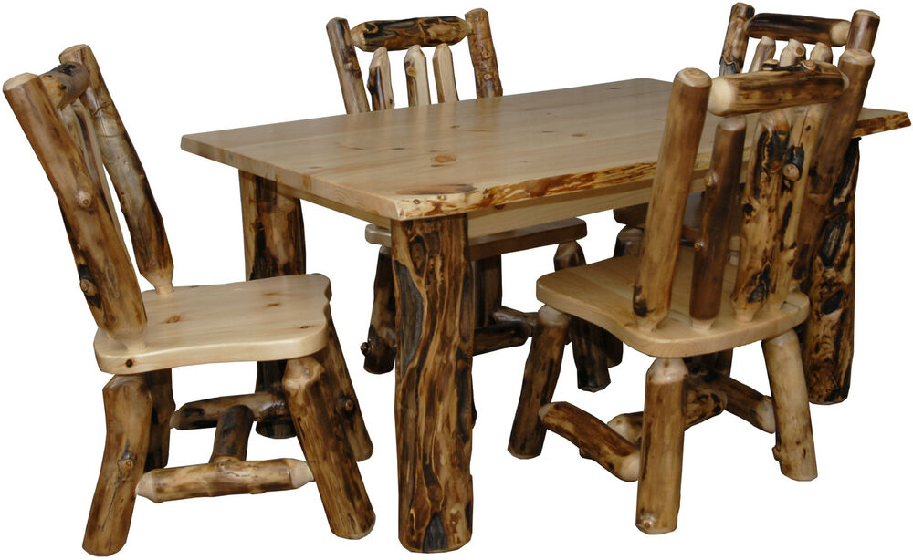 Rustic Aspen Log 5 PIECE DINING SET