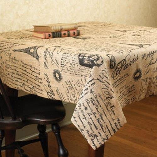 Paris French Script 48 X 48 Burlap Tablecloth Eiffel