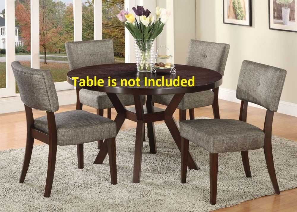 Unique Modern Dining Chairs Set Espresso Finish Upholstery