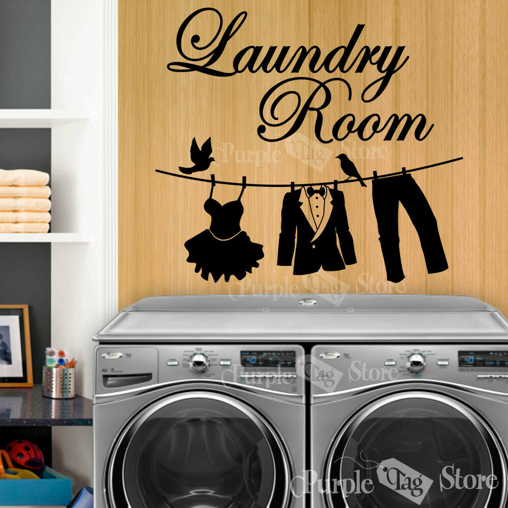 Laundry Room Clothesline Vinyl Art Home Wall Quote Decal ... on Laundry Decoration  id=78556