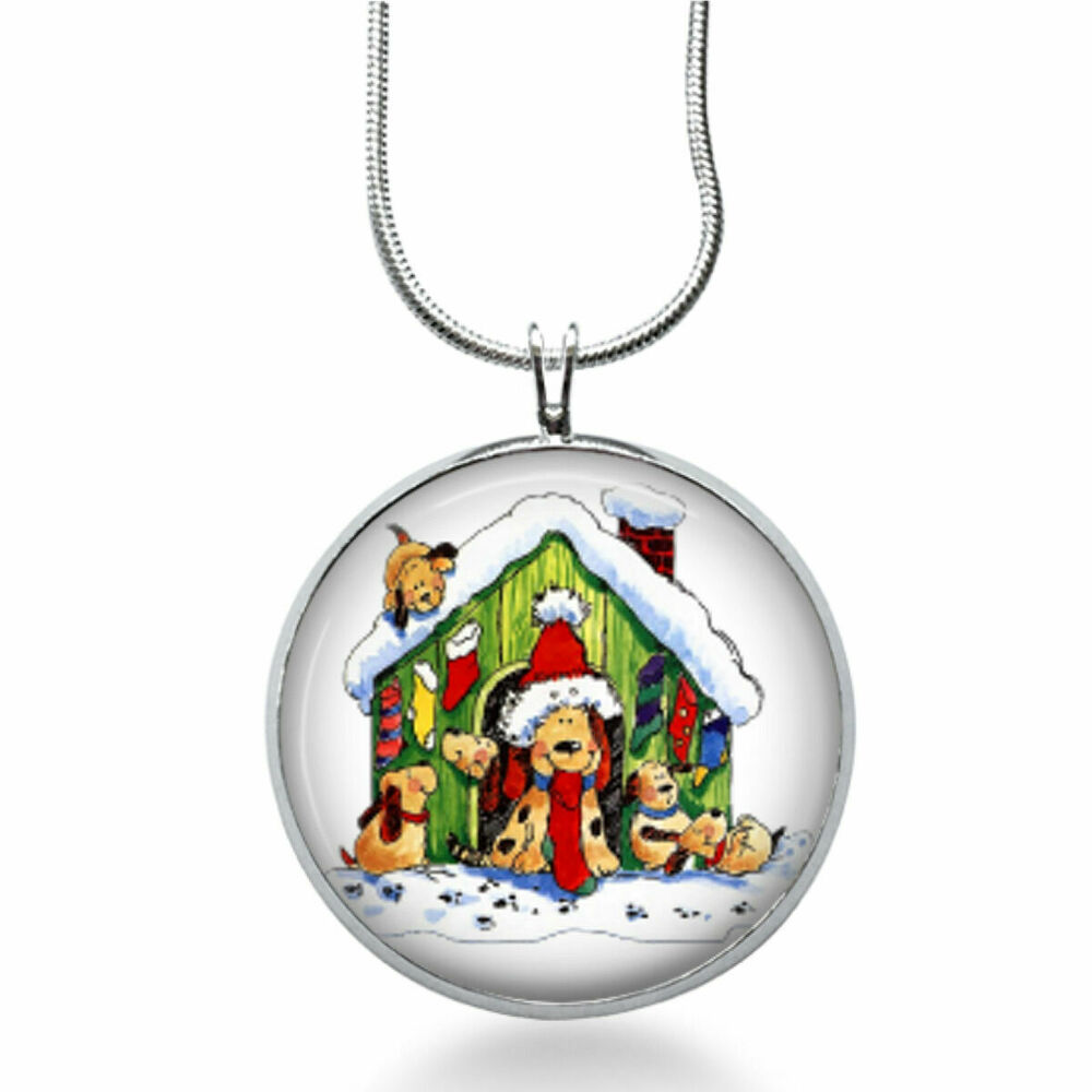 Christmas Dog House Necklace Snow Jewelry Pets Pendant