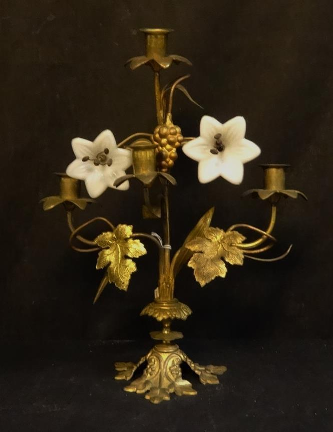 Antique Ornate Brass with Glass Flowers Candle Sconce | eBay on Candle Wall Sconces With Flowers id=12175