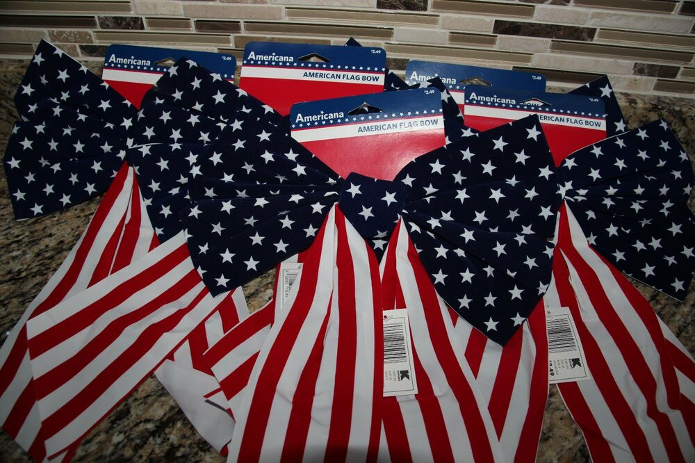 4 USA Flag Bows Indoor Outdoor Decorations Red White Blue