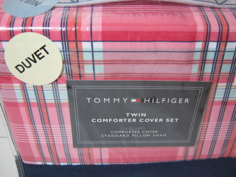 New TOMMY HILFIGER LOGAN Twin Comforter Duvet Cover And