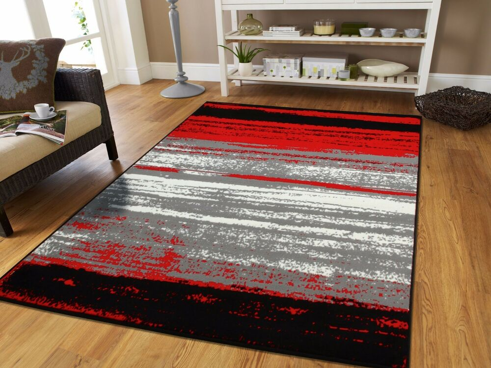 Large Grey Modern Rugs For Living Room 8x10 Abstract Area