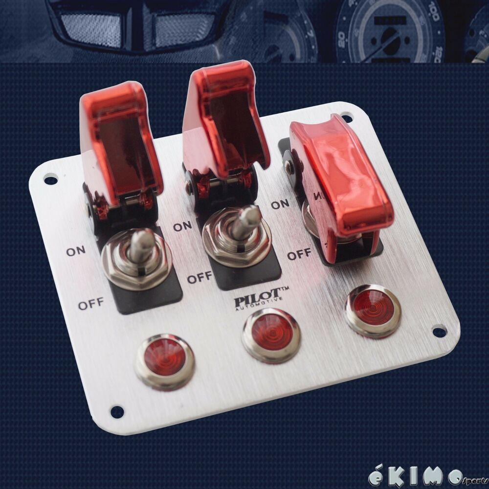 3 Row Red Safety Cover Aircraft Toggle Switch For Fog