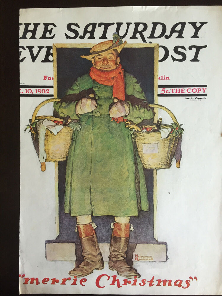 1932 Saturday Evening Post COVER ONLY Norman Rockwell Merrie Christmas EBay