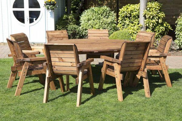 wood patio furniture table and chairs HGG Round Wooden Garden Table and 8 Chairs Dining Set