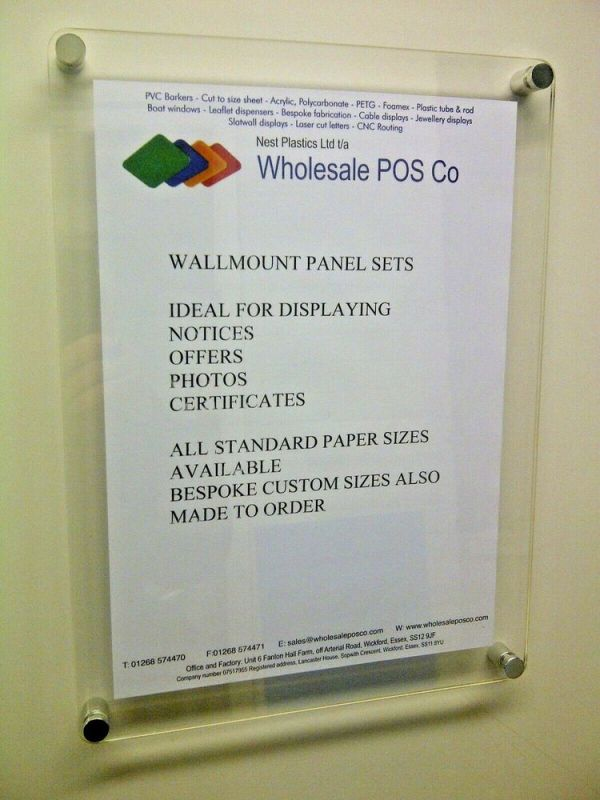 ACRYLIC WALL MOUNT POSTER DISPLAY SIGN HOLDERS IN 3MM ...