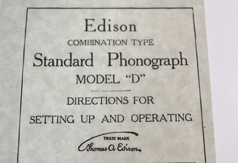 EDISON Combination Type MODEL D Phonograph OPERATING INSTRUCTION BOOKLET Manual EBay