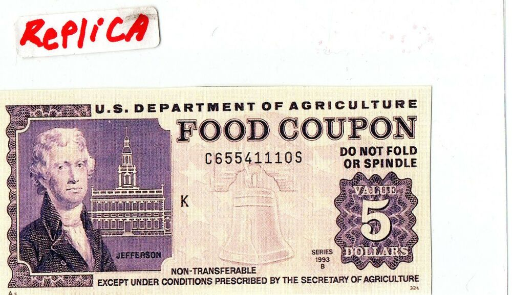 Novelty 5 Dollar Food Stamp 1993 ReprintReplica EBay