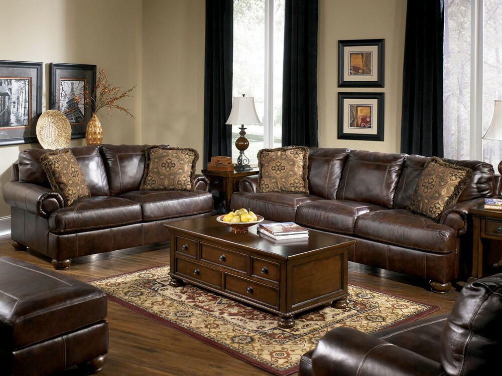 TRADITIONAL GENUINE BROWN LEATHER LARGE SOFA