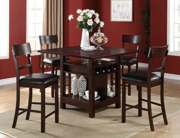 counter height storage dining table 5 PC Dark Rosy Brown Counter Height Dining Table Set w
