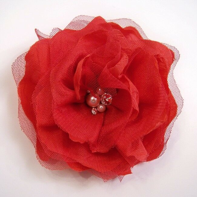 FABRIC PEARL PEONY ARTIFICIAL FLOWER HAIR CLIPPIN BROOCH