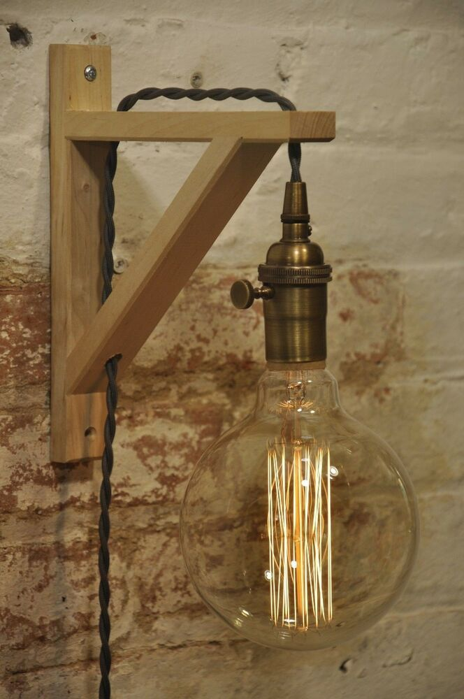 Wall Sconce Antique Brass Birch Wood Light Lamp Industrial ... on Vintage Wall Sconces id=88434