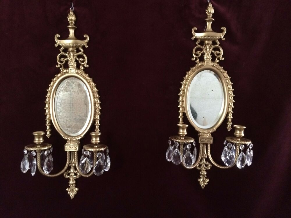 2 Victorian Brass Oval Beveled Mirror Double Arm Candle ... on Victorian Wall Sconces id=48292