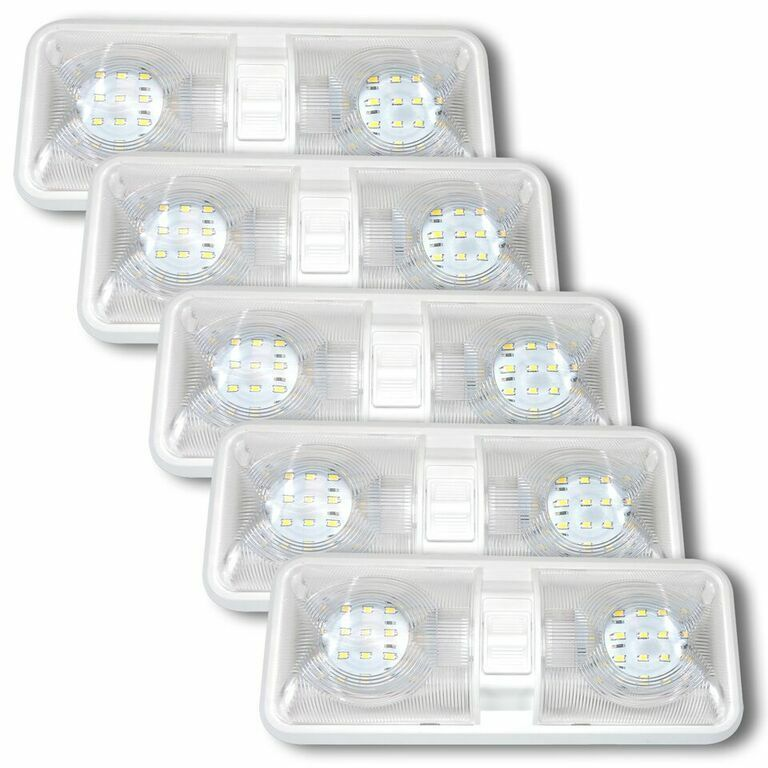 5 NEW RV LED 12v CEILING FIXTURE DOUBLE DOME LIGHT FOR