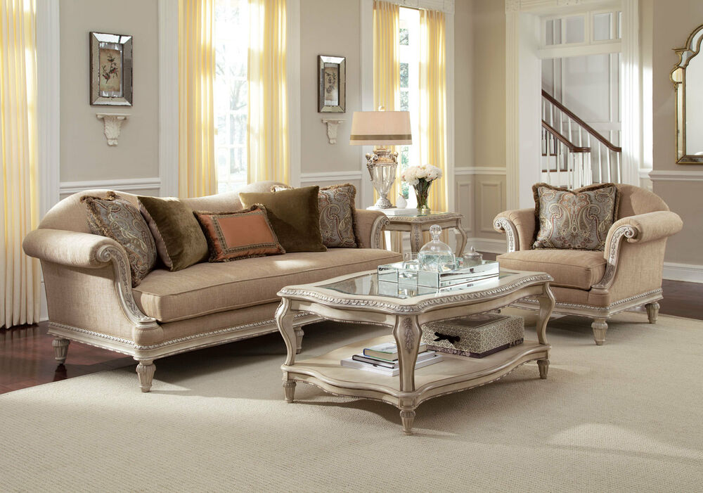 GRANDE PALACE-EUROPEAN WOOD CHENILLE SOFA COUCH CHAIR SET