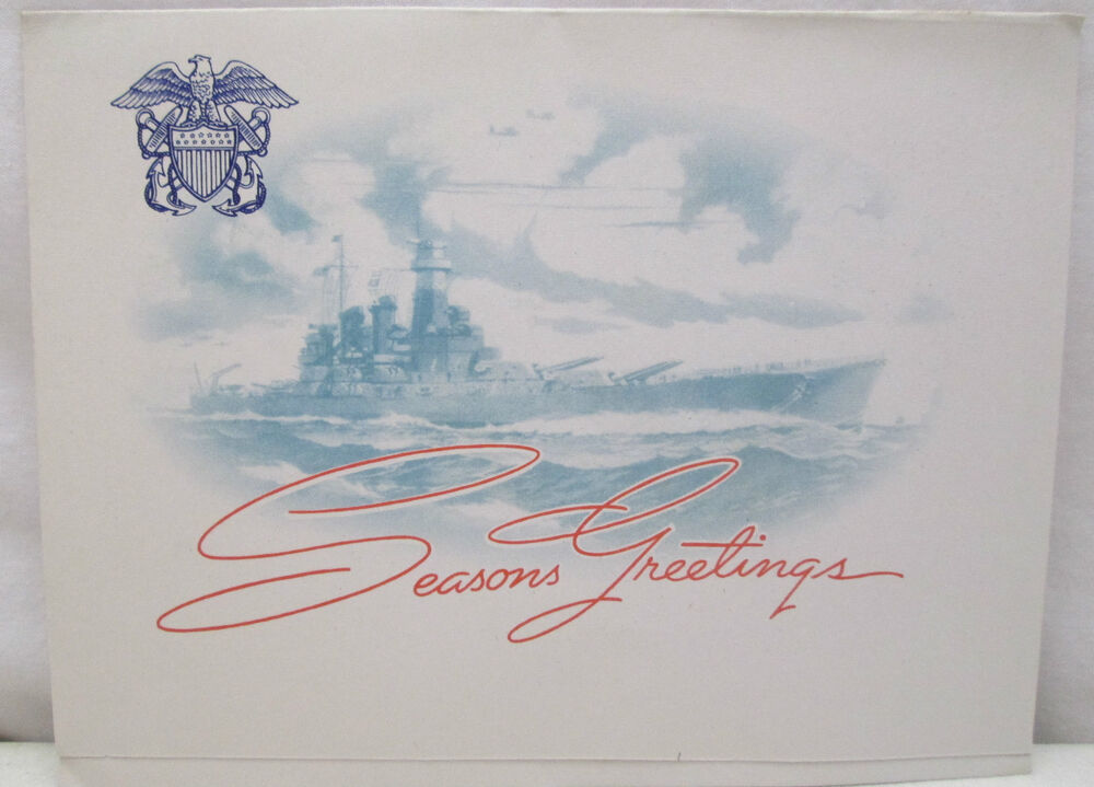 Vintage Christmas Greeting Card United States Navy Ship