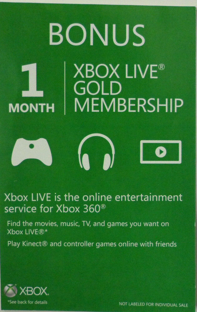 Xbox Live Gold Membership 1 Month Xbox 360 EBay