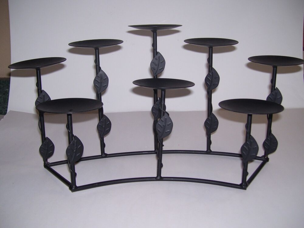 BLACK Metal Wrought Iron Style Candle Holder 8 TIER Tuscan ... on Black Wrought Iron Wall Candle Holders id=12991