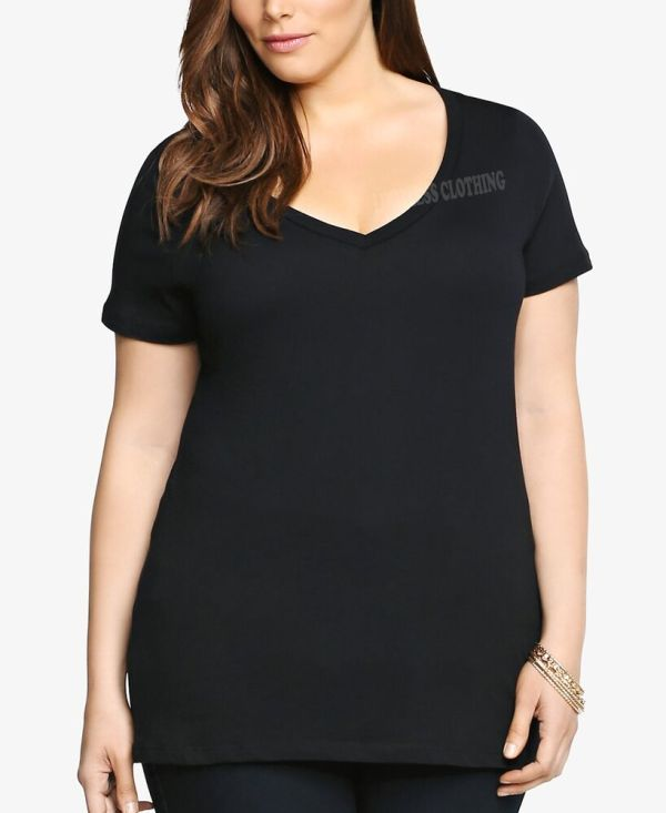 Women Plus Size V-neck Premium Basic T-shirt Soft 100% ...