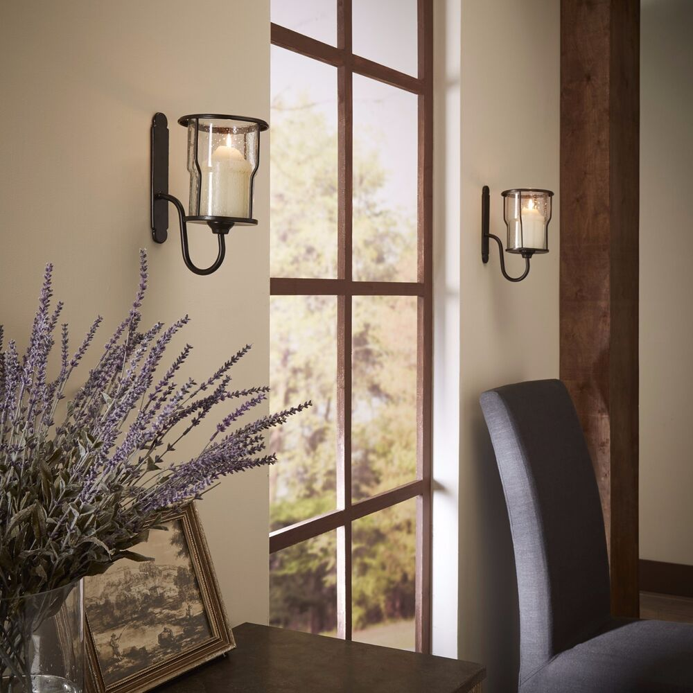 Wall Mounted Metal Sconces Bubble Glass Candle Holders ... on Wall Mounted Candle Holder id=70063