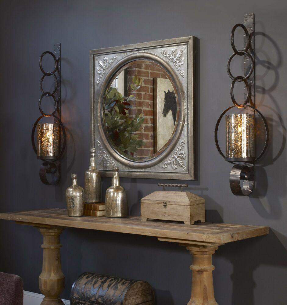 """TWO LARGE 39"""" RUST BROWN METAL MERCURY GLASS WALL SCONCE ... on Decorative Wall Sconces Candle Holders Centerpieces Ebay id=47670"""