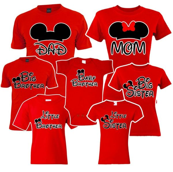 Mom Dad, Big Sister brother Mickey Family Red Matching T ...