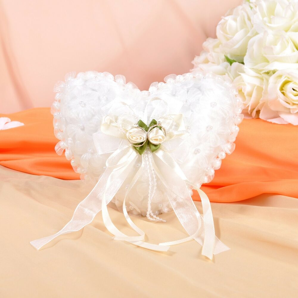 GB13c Ivory Organza Heart Wedding Ceremony Ring Pillow