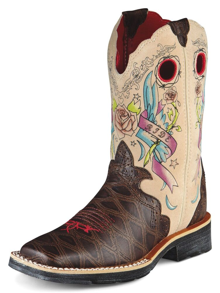 Ariat Girl S Showbaby Rocker Tattoo Brown Square Toe