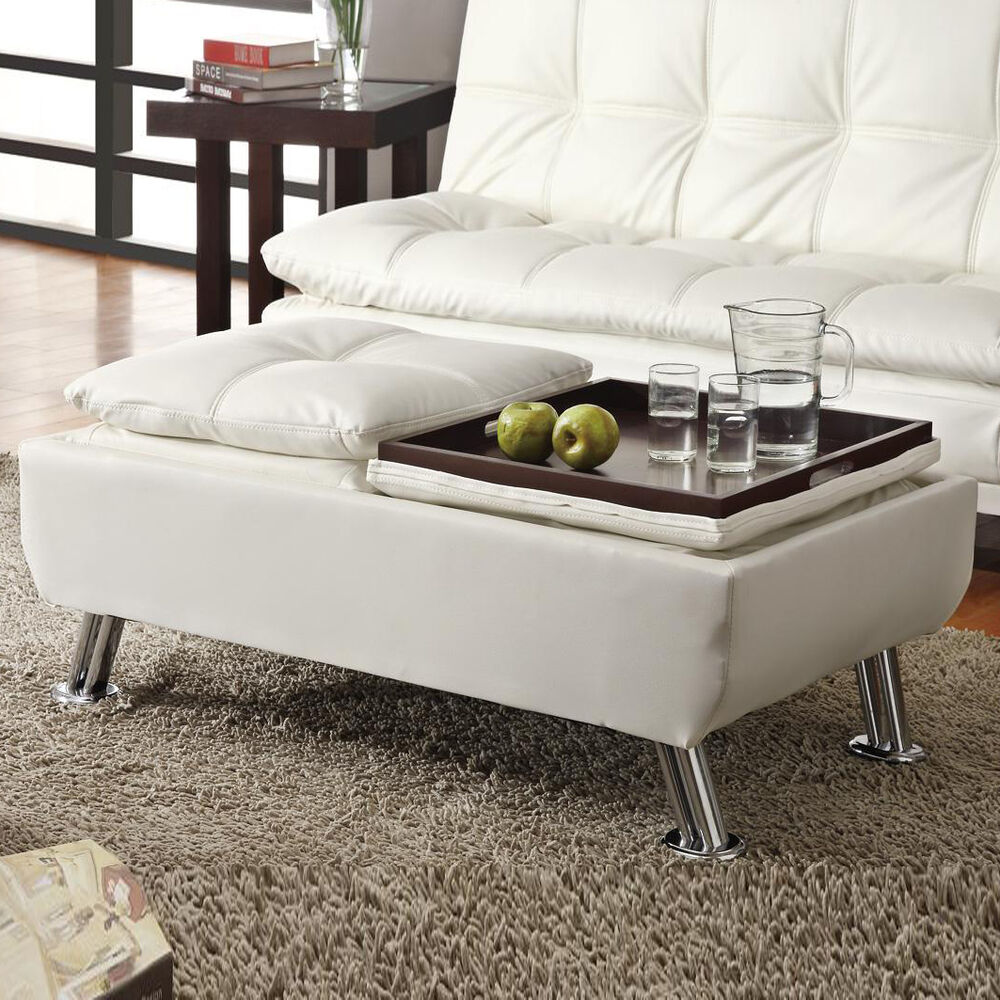 Cream White Faux Leather Pillow Top Seating Accent Tray