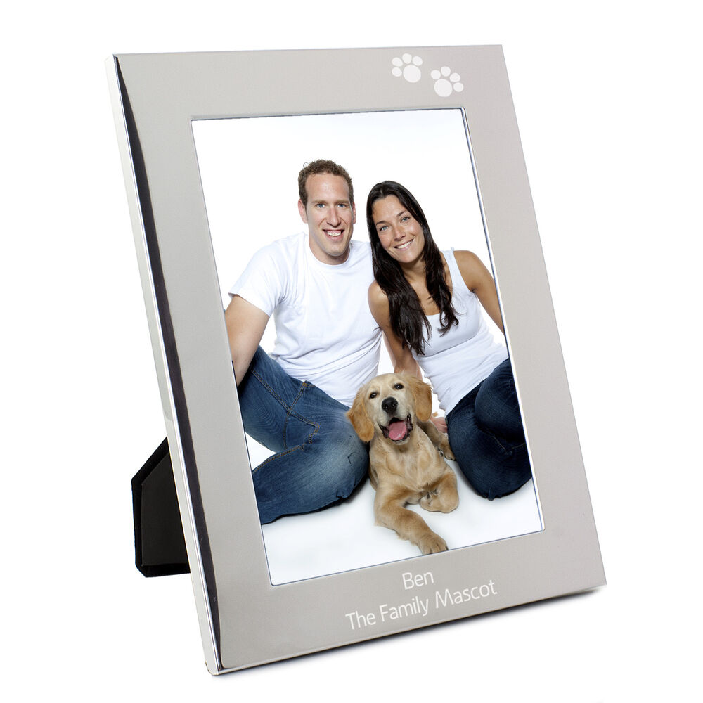 Personalised Silver Paw Prints 5x7 Photo Frame Engraved