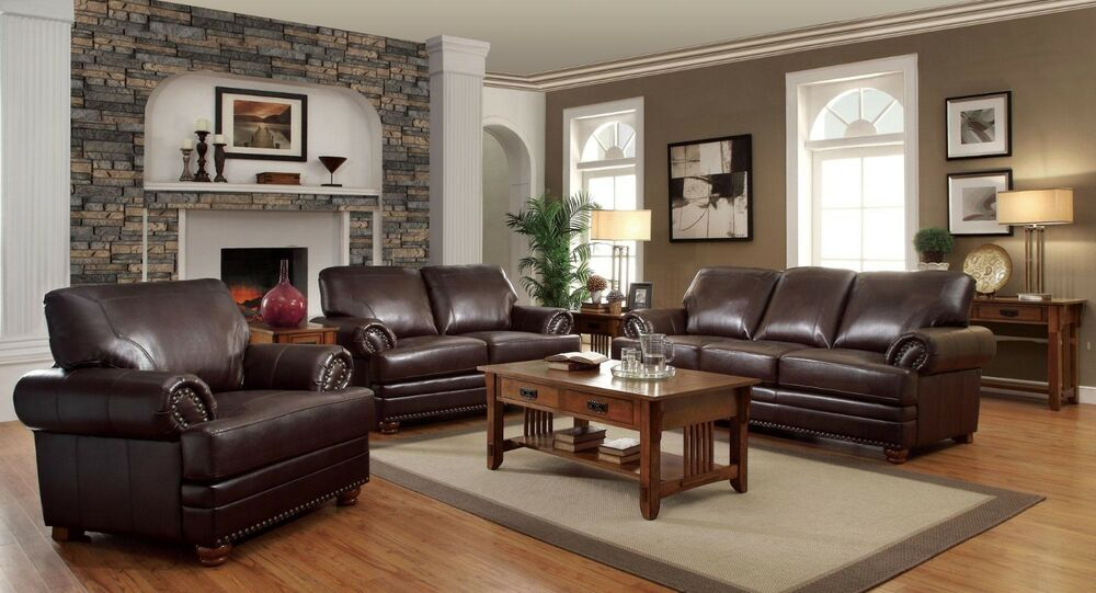 TRADITIONAL STYLISH BROWN BONDED LEATHER SOFA L/S & CHAIR