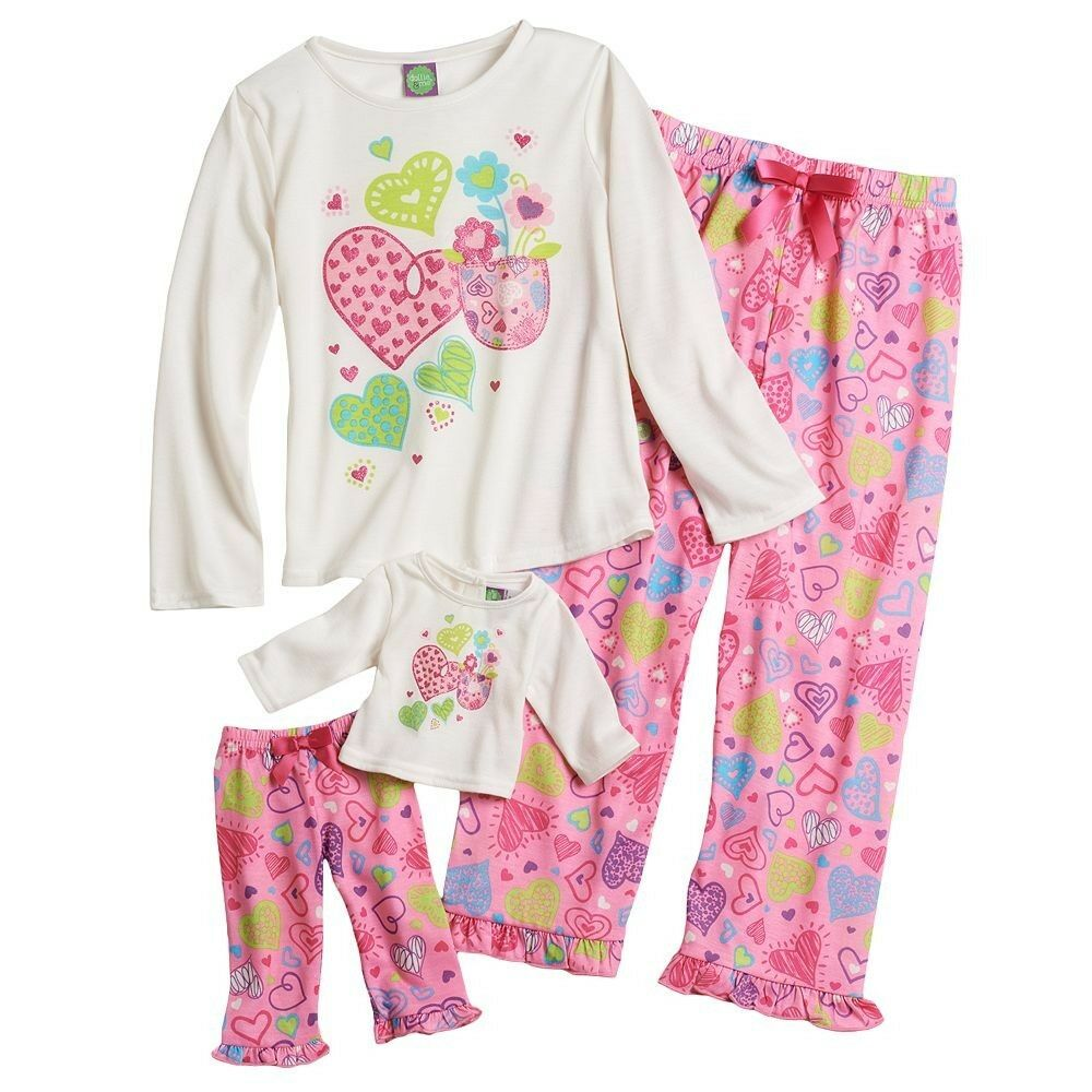 Dollie Me Girl And Doll Matching Valentines Heart Pajama