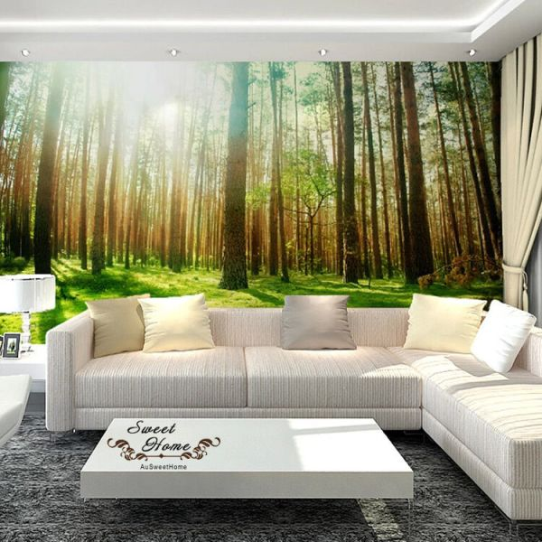 photo wall murals Green Forest Sunshine Full Wall Mural Wallpaper Print Decal Indoor Deco Home Au | eBay