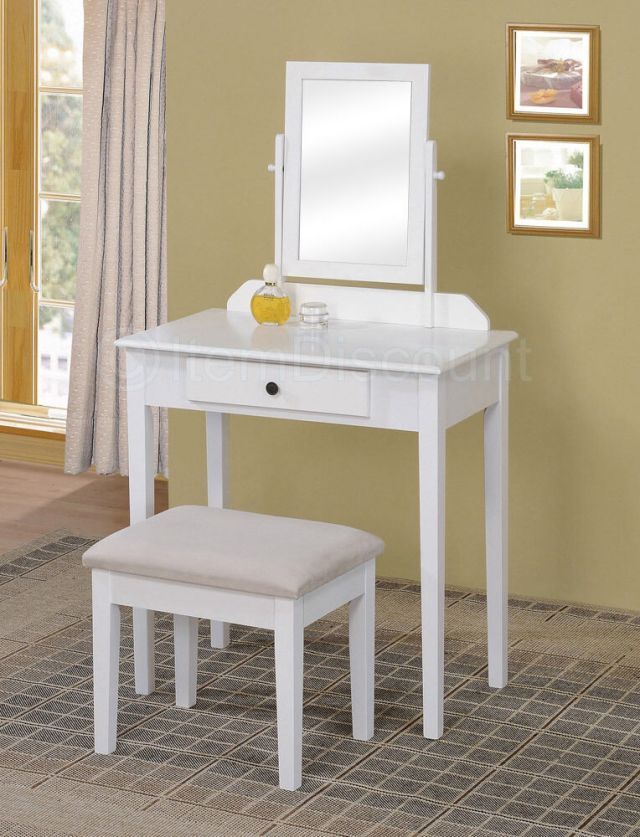 Contemporary White Bedroom Vanity Set Table Drawer Bench ...