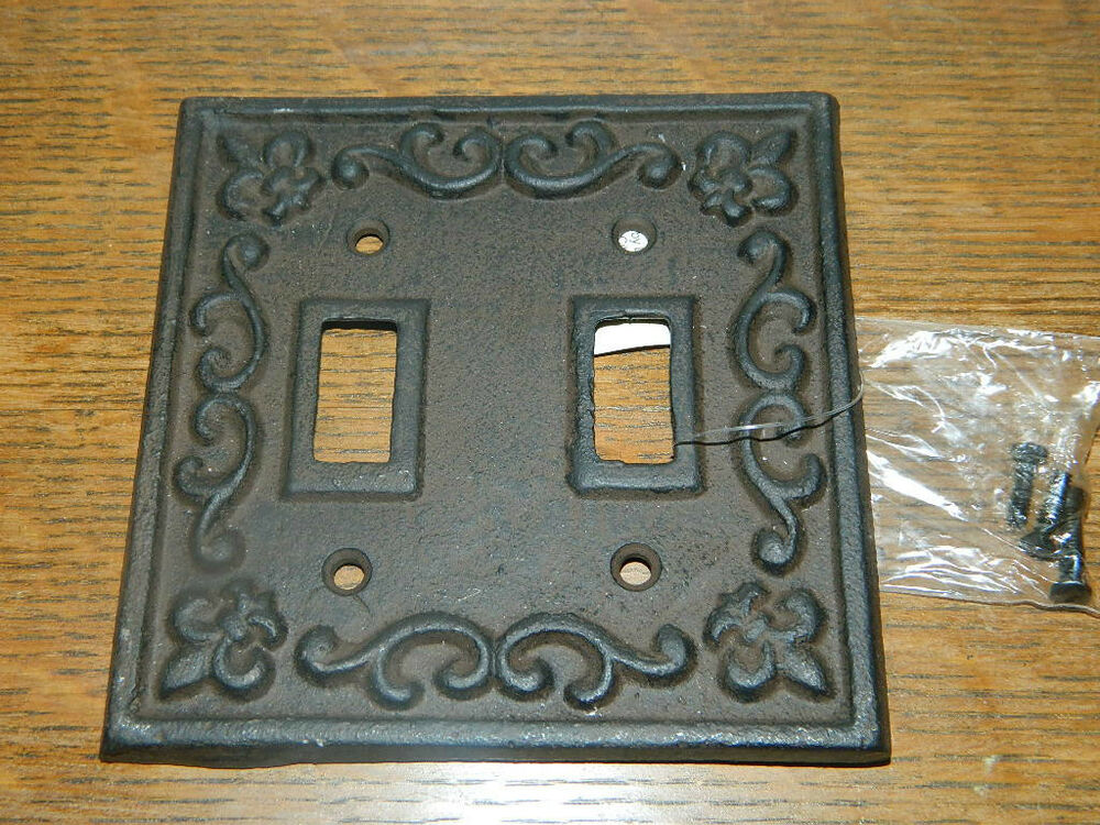 Rustic Cast Iron French Fleur De Lis Double Switch Light