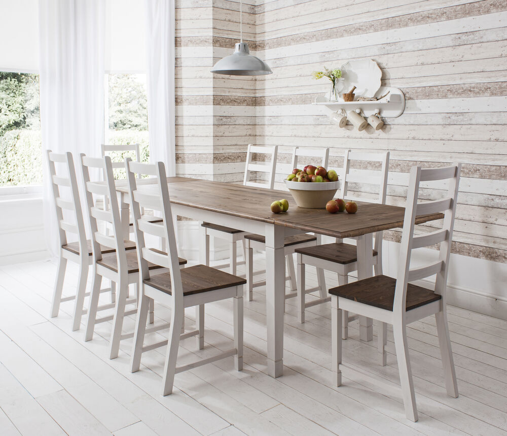Dining Table And Chairs Dark Pine And White Dining Set