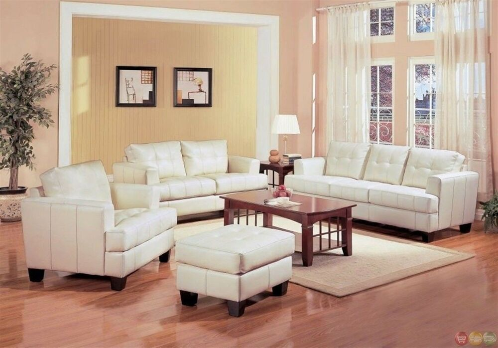 Samuel Cream Off White Bonded Leather Living Room Sofa